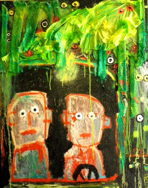 Jungle, mixed media and collage, Bruno Tessier, Outsider Art, Artcompulsion