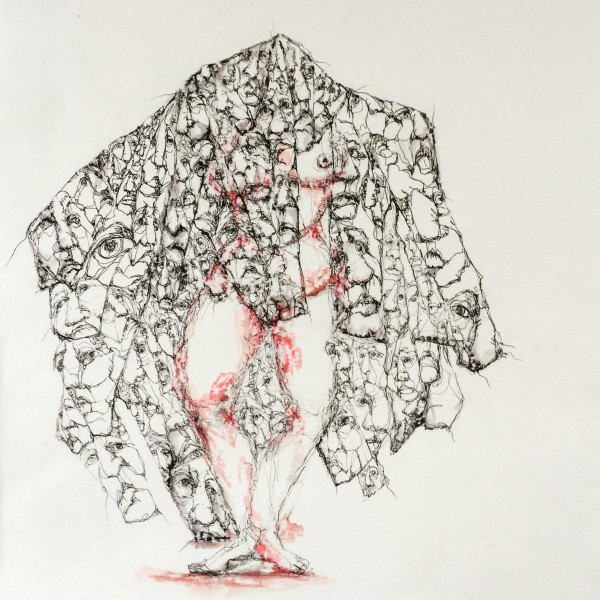 En vie, ink on rag paper, Sylviane Le Boulch, Outsider Art, Artcompulsion