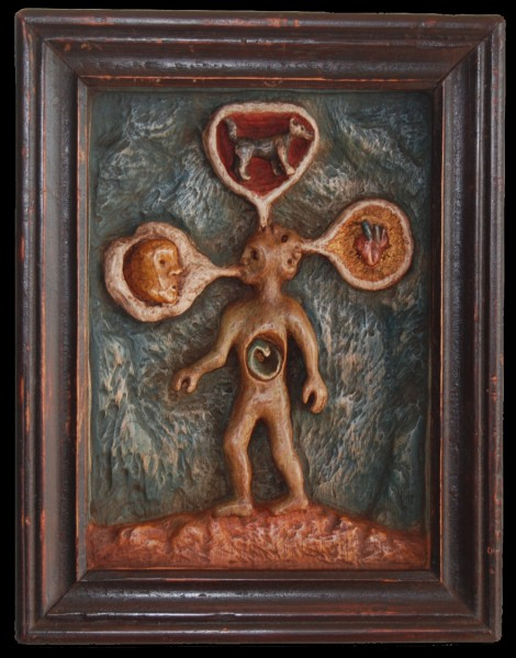 Cracheur de vivants, sculpture, bas-relief on wood, Olivier Blot, Outsider Art, Artcompulsion