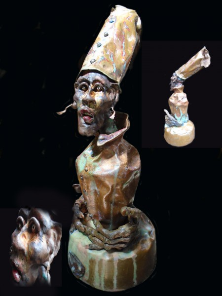 Gniwim, sculpture, ceramic and metal, Bernard Nicolas, Outsider Art, Artcompulsion