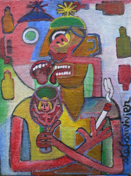 Je vois double, acrylic on canvas, Stéfan Vivier, Outsider Art, Artcompulsion