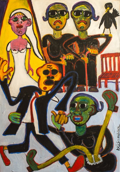 La danse des grands mères, acrylic on canvas, Stéfan Vivier, Outsider Art, Artcompulsion