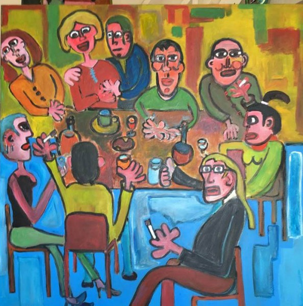 Les copains, acrylic on canvas, Stéfan Vivier, Outsider Art, Artcompulsion