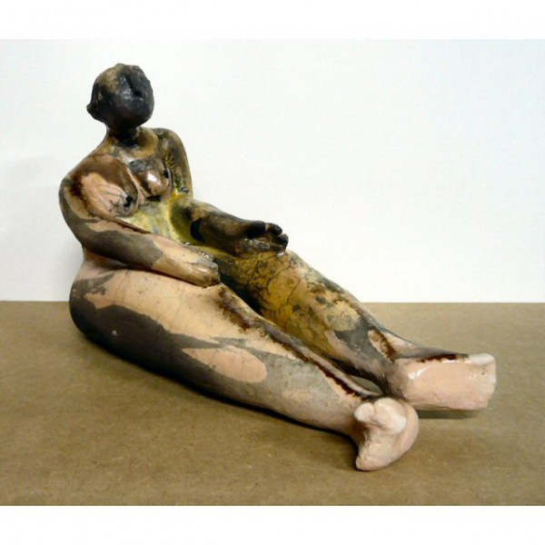Attente, sculpture, ceramic, Raku, Sylvie Hébrard, Artcompulsion
