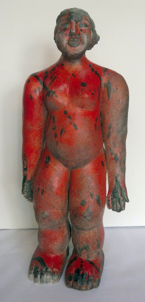 La femme rouge, sculpture, ceramic, Raku, Sylvie Hébrard, Artcompulsion