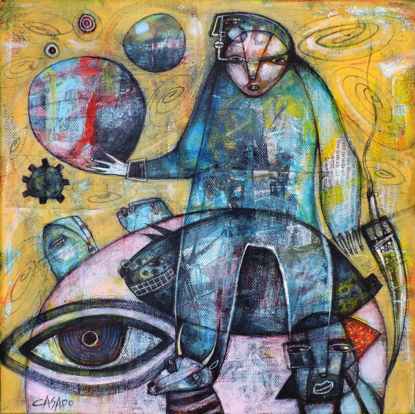 Eye of the world, Técnica mixta sobre lienzo, Dan Casado, Artcompulsion, Outsider Art