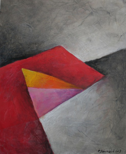 Balcon rouge, acrylic on canvas, abstract painting, Pierre Souchaud