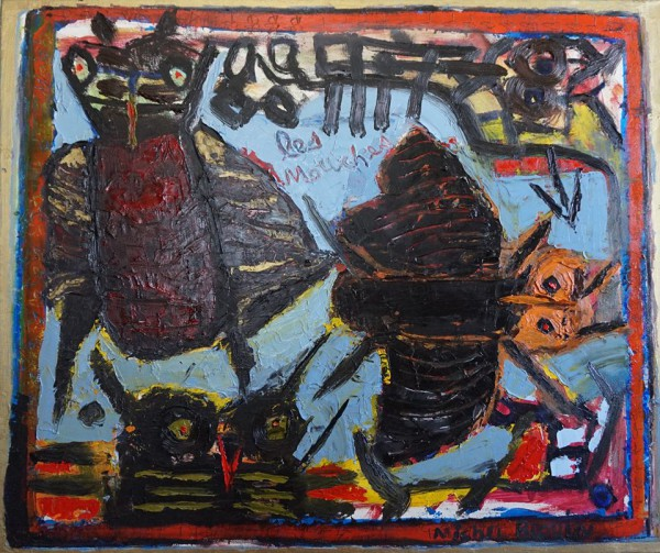 Les mouches, oil on canvas, painting, Michel Blouin, Outsider Art