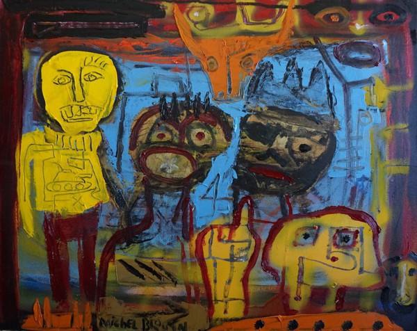 Les sages, oil on canvas, painting, Michel Blouin, Artcompulsion, Art Singulier, Outsider Art