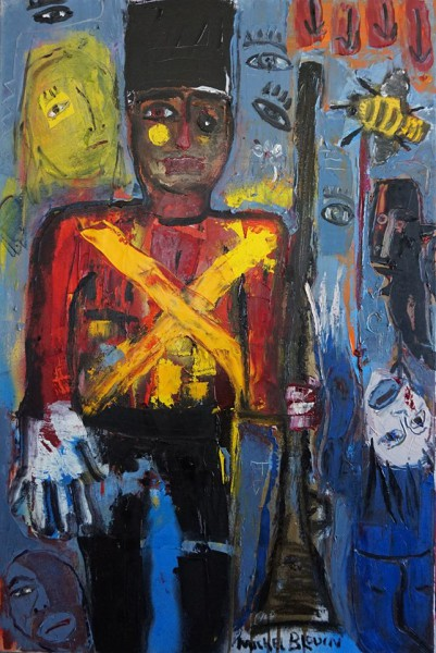 Aux armes, oil on canvas, painting, Michel Blouin, Artcompulsion, Art Singulier, Outsider Art