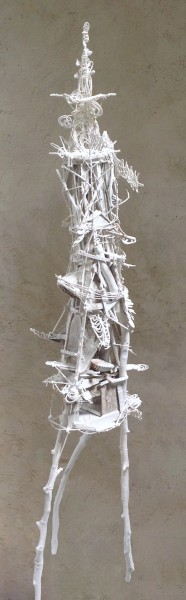 Tour blanche, sculpture, Sylvain Corentin, Artcompulsion, Outsider Art