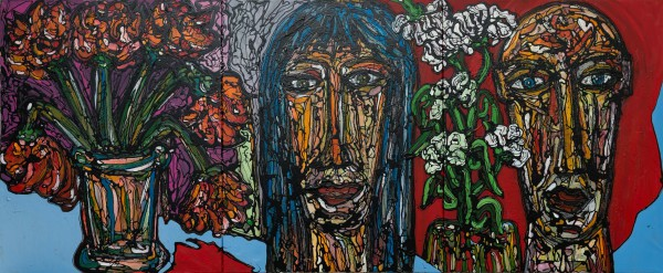 Printemps, acrylic on canvas, Philippe Routier, expressionism, figuration