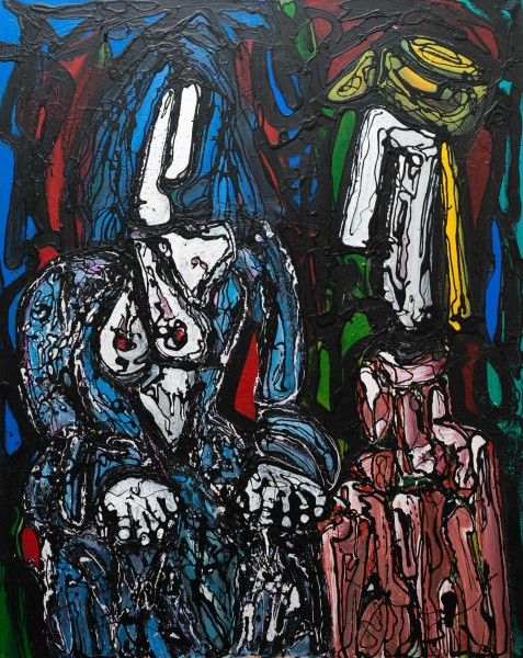 Rencontre, acrylic on canvas, Philippe Routier, dripping, figuration
