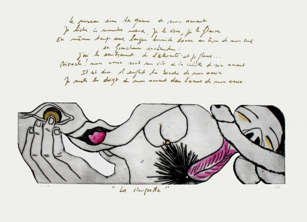 La houpette, engraving, Sophie Sainrapt, erotic drawing, Georges Bataille, erotic poems