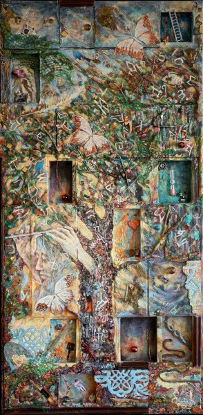 Arbre de Vie, mixed media on wood and plexiglass, Macha Volodina-Winterstein