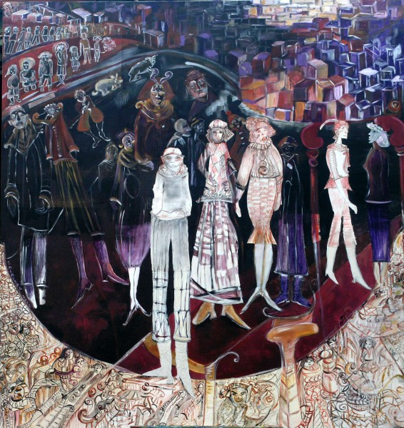 Les grandes personnes, acrylic on canvas, collage, Sylvie Salavera
