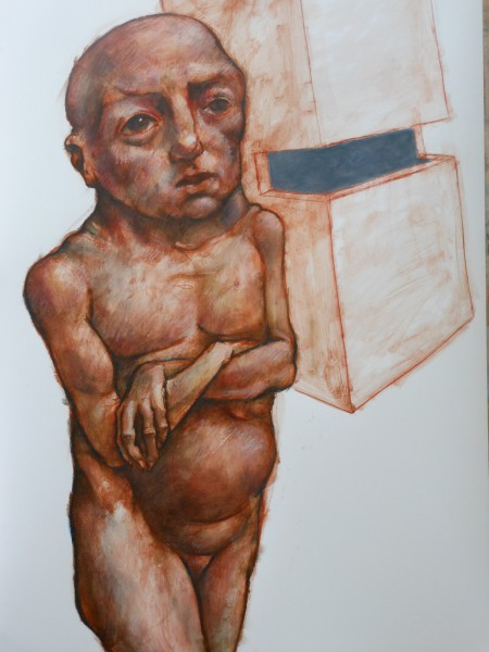 Sans titre 2, oil and red chalk on paper, Frédéric Galland