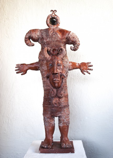 L'héritier, waxed and enamelled ceramic, sculpture, Alain Kieffer