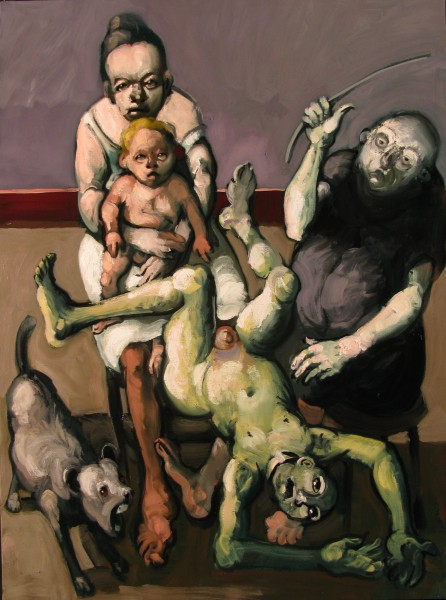 Le père fouettard, oil on canvas, expressionism, Jörg Hermle