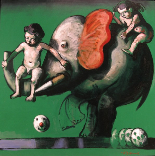 L'éléphooteur , oil on canvas, expressionism, Jörg Hermle