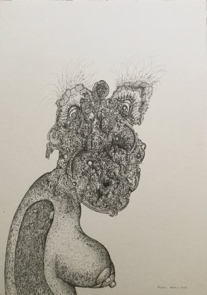 Nu surpris, drawing, rotring on paper, Frédéric babon, Outsider art, Artcompulsion
