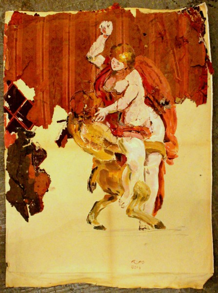 Diane et le satyre, painting, mixed media on paper, Emmanuel Flipo, Artcompulsion, Contemporary art