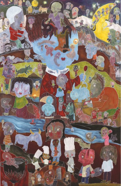 Le Jugement dernier, mixed media on canvas, Raphaël Mallon, Artcompulsion, Outsider art