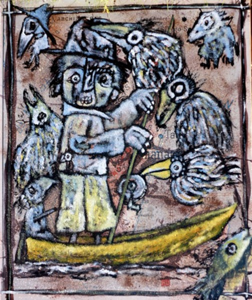 La Surpêche aux Cormorans, mixed media on canvas, Raphaël Mallon, Artcompulsio, Outsider art, Contemporary art