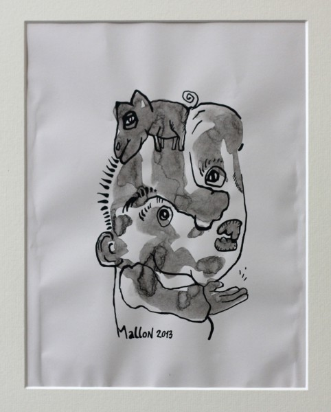 Biquet, drawing, ink on paper, Raphaël Mallon, Artcompulsion, Outsider art