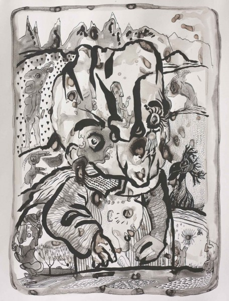 Suivre le rythme, drawing, ink on paper, Raphaël Mallon, Artcompulsion, Outsider art