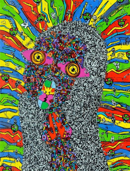 Losing my Religion, acrylic on canvas, Jean-Marc Calvet, Outsider art, contemporary art