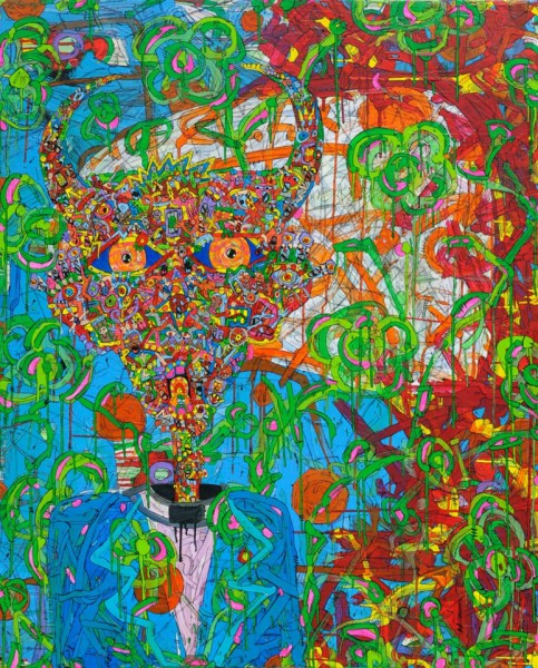 Twisted Confession, acrílico sobre lienzo, Jean-Marc Calvet, Artcompulsion, Outsider art, arte Contemporaneo
