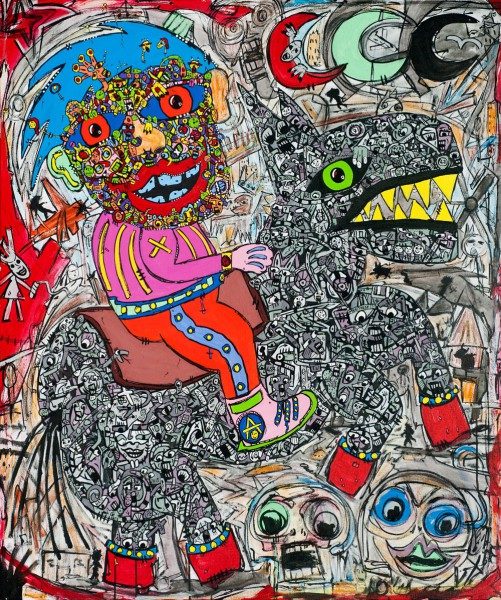 The Three Moons, mixed media on canvas, Jean-Marc Calvet, Artcompulsion, Outsider art, contemporary art