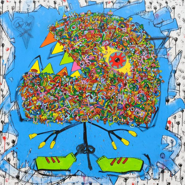 Eat, acrylique sur toile, Jean-Marc Calvet, Artcompulsion, Outsider art, Art singulier