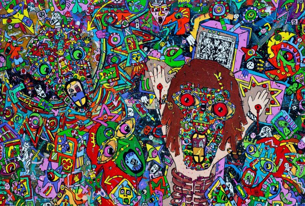 Au Nom du Père, acrylic on canvas, Jean-Marc Calvet, Artcompulsion, Outsider art