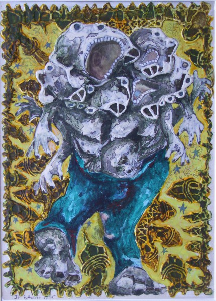 Nuit 30, mixed media on Bristol paper, Jean-François Bottollier, Artcompulsion, Outsider art, contemporary art
