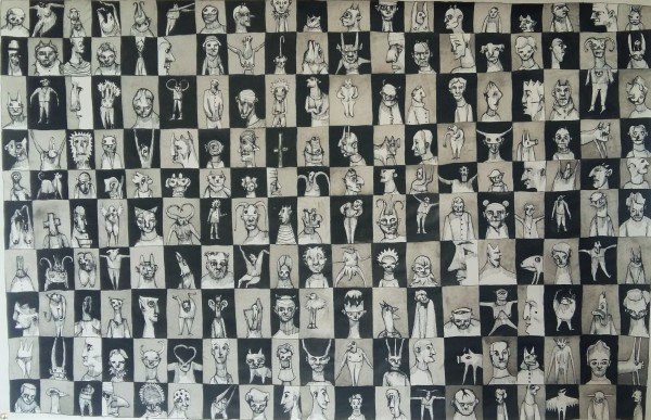 Sans titre 6, drawing, Chinese ink on paper, Eric Demelis, Artcompulsion, Outsider art, contemporary art