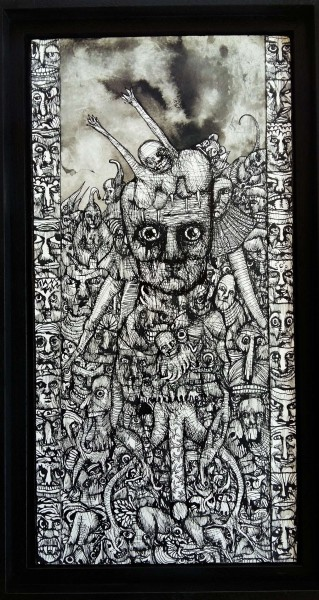 Sans titre 7, drawing, Chinese ink on wood, Eric Demelis, Artcompulsion, Outsider art, contemporary art