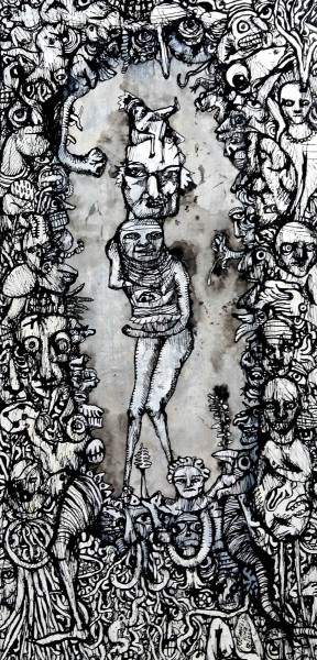 Sans titre 9, drawing, Chinese ink on canvas, Eric Demelis, Artcompulsion, Outsider art, contemporary art