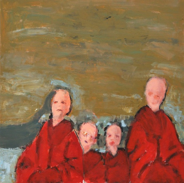 Les habits rouges, acrylic on canvas, Dominique Gentreau, Artcompulsion, expressionism