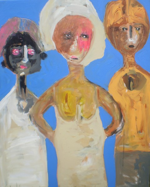 Trois soeurs, acrylic on canvas, Andrzej Brych, Artcompulsion, outsider art, contemporary art
