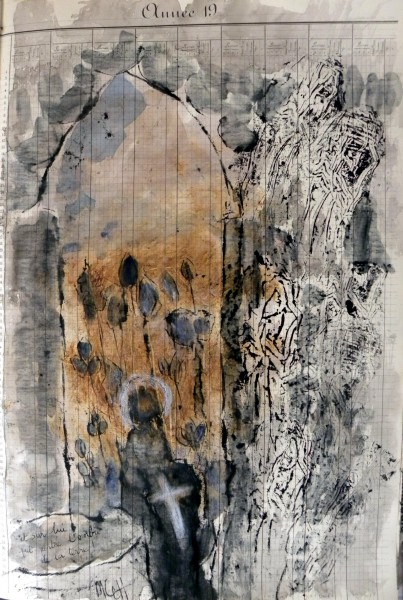 Dessin sur registre ancien 2, drawing, mixed media on paper, Monique Le Hingrat-Villion, Artcompulsion, contemporary art