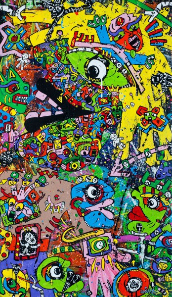 Burn out, acrylic on canvas, Jean-Marc Calvet, Artcompulsion, Outsider art, contemporary art