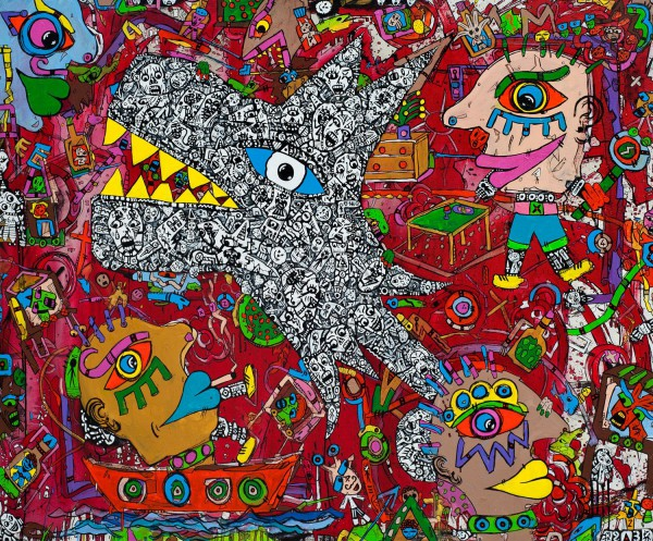 Doberman, acrylique sur toile, Jean-Marc Calvet, Artcompulsion, Art singulier, Outsider art