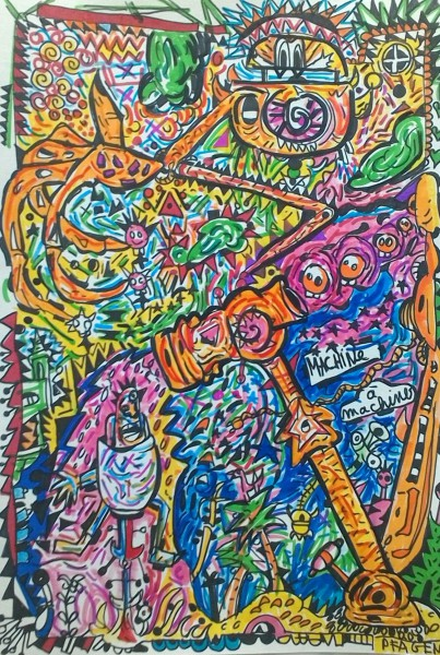 Machine à machiner, felt pen on paper, Pfägen, Artcompulsion, outsiderart, art contemporain