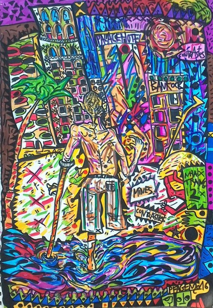 Contrastes, felt pen on paper, Pfägen, Artcompulsion, outsiderart, contemporary art