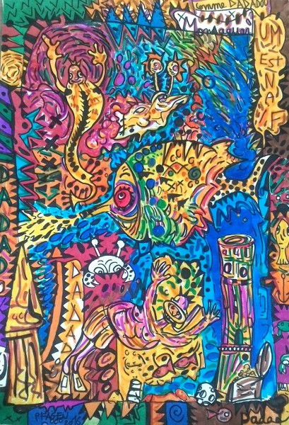 Aquarium Dadadou, felt pen on paper, Pfägen, Artcompulsion, contemporary art, outsiderart