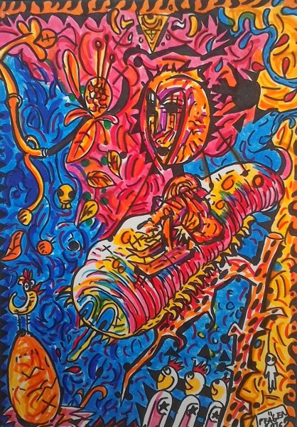 Fantaisie, felt pen on paper, Pfägen, Artcompulsion, outsiderart, contemporary art