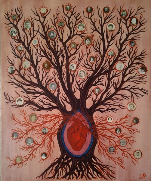 Arbre de vie, mixed media, Françoise Cuxac, Artcompulsion, outsiderart, contemporary art