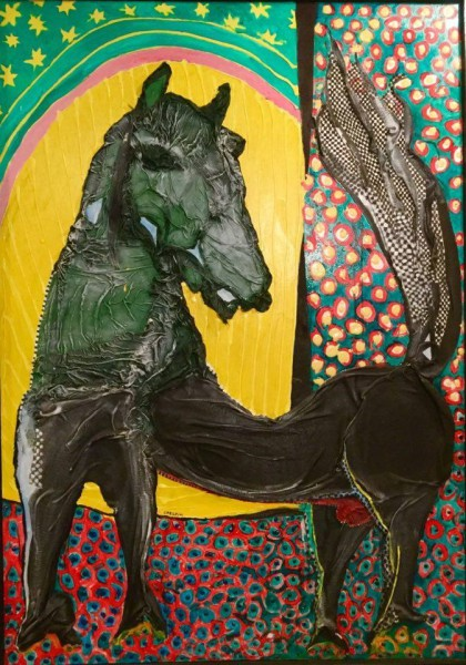 Le cheval de Michao, Acrylic on fabrics glued on canvas, Joël Crespin, Artcompulsion, outsiderart
